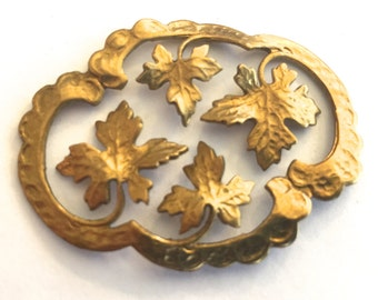 Vintage Large finding (1) stamped gold plated metal maple Leaves Scroll texture Centerpiece pendant Almost 2 inches (1)