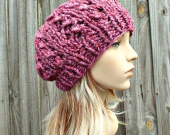 Knit Hat Womens Hat Slouchy Beanie Slouchy Hat - Wisteria Beanie in Wild Strawberry Pink Hat Pink Beanie Womens Accessories - READY TO SHIP