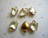 Vintage Swarovski Crystal Heart Charms in Brass Prong Settings with Gold Foil 6mm x 8mm lot of 4