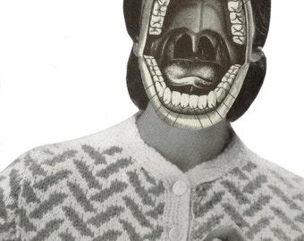 Conversation Starter, Creepy Cool Original Art, Teeth and Mouth Anatomy Art, Weird Wall Art, Strange Artwork, Anatomical Decor
