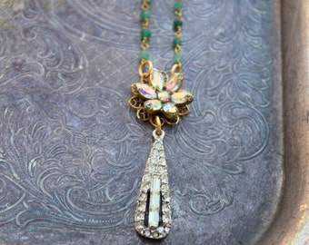 Vintage AB Rhinestone and Gemstone One of a Kind Necklace...Lana Four