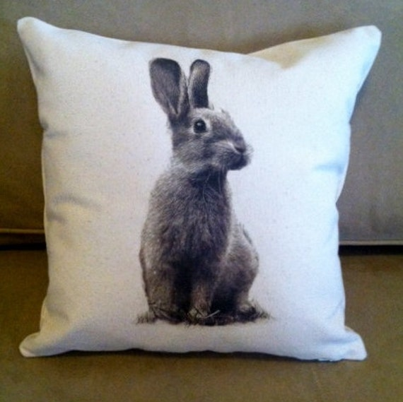 Decorative Pillows With Rabbits : Bunny rabbit Decorative throw pillow cover