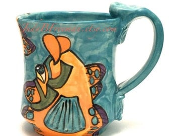 Ceramic Mug Handmade Wheel Thrown Stoneware Coffee Cup Hand painted Fish Mandarinfish Made to Order 12 Ounces MG005