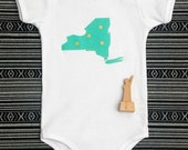 modern state baby onesie or toddler tee -- metallic gold X on mint green -- custom state
