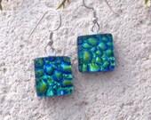 Petite Earrings, Blue Green Gold, Silver Earrings, Sterling Earrings, Dichroic Earrings, Fused Glass Jewelry, Dichroic Jewelry, 100716e102
