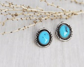 Vintage Turquoise Stud Earrings - sterling silver bright blue gemstone post backs - Southwestern Native American jewelry