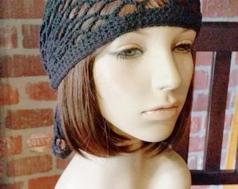 hand crochet bandana dorag women bandana men bandana dreadlock snood women accessories ~ gypsy spirit mesh ~   black  unisex cobasi
