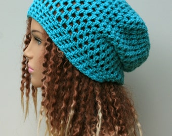 Soft summer slouchy hat,  turquoise blue small dreadlock beanie tam hat hairnet snood slouchy crochet, slouch beanie, slouchy beanie