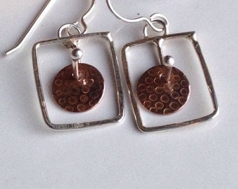 Etsy, Etsy Jewelry, Metalwork Earrings, Copper and Sterling Silver, Square Earrings, Mechanical, Industrial, Dangle Earrings
