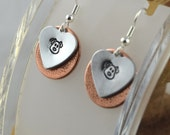 DOG critter love hand stamped layered copper and aluminum mixed metal french hook earrings
