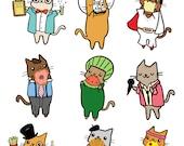 Cute Cat Sticker Sheet Science Elvis Space Donut Watermelon Karaoke Adorable Kitty Stickers