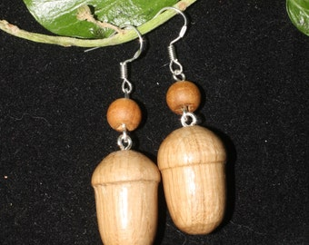 English Oak Wood Acorn Earrings - Hand-turned in Cornwall - Forest, Autumn - Pagan. Wicca, Witchcraft