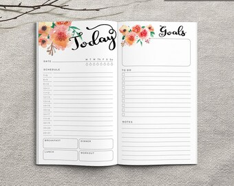 Printable Daily Planner Inserts, Personal Daily Planner, Printable Personal Notebook Daily planner inserts, PDF file