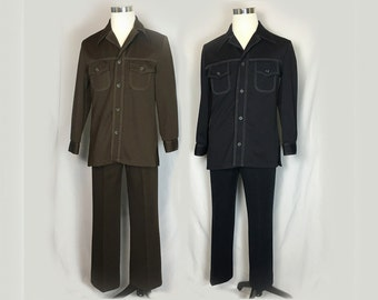 Vintage Leisure Suit, Haggar, 1970's, Men's Suit, Brown, Navy, Polyester, Top Stitiching, Disco, 40 Chest, 34 Waist, Small/Medium