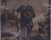 Antique Vintage Tintype photograph of a Man with Bowler Hat