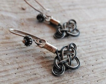 Celtic Love Knot Earrings Sterling Silver Hand knotted Viking Knot Kazaziye woven Fine Silver Oxidized and Mat