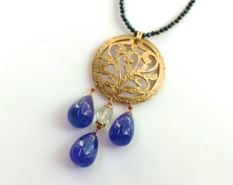 Large Tanzanite Focal Pendant with Handmade 22kg Vermeil and Black Spinel ...