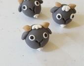 Goat Beads/ Set Of Three 14mm Polymer Clay Handmade Goat Heads/ Gray And White/ Farm Animals/ Animal Beads/Jewelry Supplies/ Crafts/ Beading