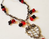 Heart Pendant Necklace/ Red And Black/ Skull/ Heart/ Roses/ Hand Beaded Cord And Chain /Glass Beads/ Handmade Jewelry/ Beadwork