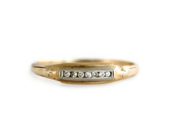 Vintage Gold and Diamond Ring - Channel Set Diamond Band
