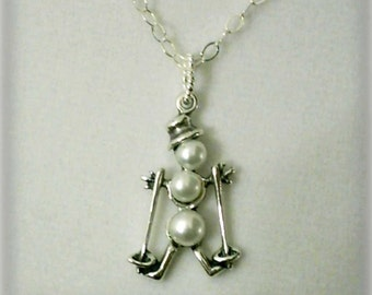 White Pearls and 925 Sterling Silver Skiing Snowman Pendant Necklace June Birthstone