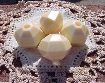 Lemon Buttercream Geo-Facets Vintage Lucite Beads