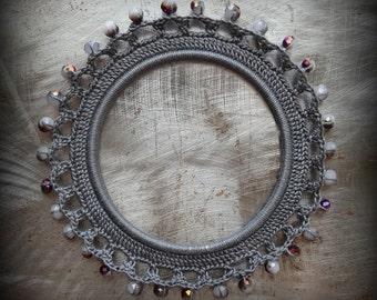 Crocheted Bracelet, Small, Original, Handmade, Gray, Sparkles, Glass, Unique, Monicaj