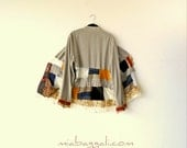 M-XL Autumn Tapestry & Lace Patchwork gypsy jacket clothing boho chic hippie upcycled handmade boho clothing wearable art