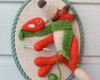 Wall hanging embroidery hoop felted wool fiber art needle felted Albert the fox knitting
