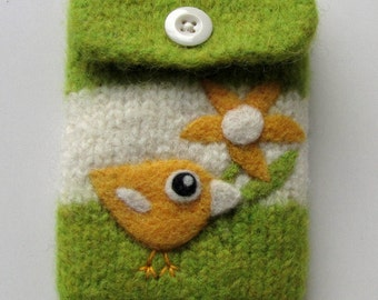 Olive green white wool pouch bag purse cellphone cozy needle felted yellow birdie bird flower