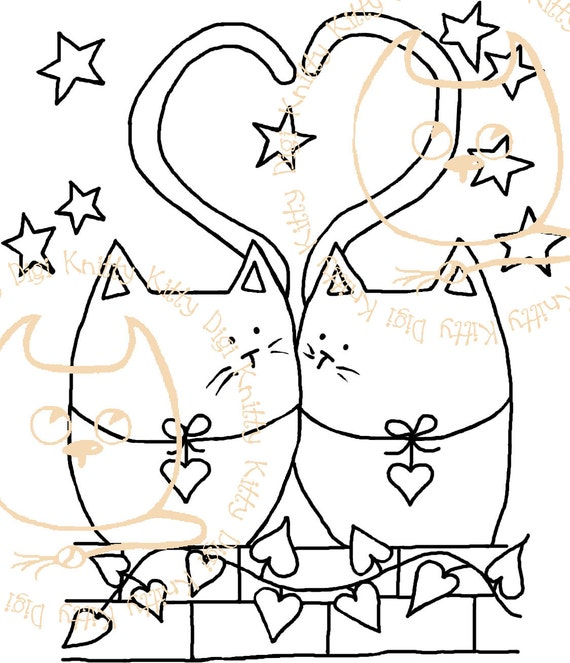 Digi Stamp Instant Download. Tail of Two Kitties - Knitty Kitty Digis No. 19