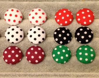 Colourful Fabric Button Stud Earrings 15mm with Stainless steel Posts - 12 Colours to Choose!