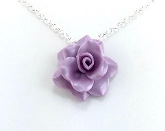 Medium Wisteria Purple Rose Pendant - Simple Rose Necklace - Purple Rose Necklace - Bridesmaid, Wedding Jewelry - Polymer Clay - MADEtoORDER