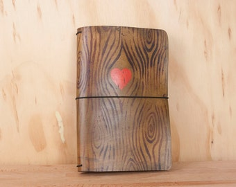 Midori Notebook - Leather Moleskine Journal Cover - Nice pattern with Woodgrain and heart  - Travelers Notebook Style