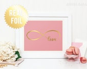 Infinity Symbol Love Print - Valentine's gift - REAL GOLD FOIL - Infinite Love Anniversary - Home Decor Wall Art - 65 Background Colors