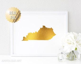 Kentucky Wall Art - Kentucky State - Kentucky Map - Real gold foil print - Kentucky Home - Bedroom Wall Art - KY state - Gold Kentucky