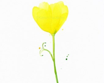 """Original watercolor flower painting of a yellow flower: """"Buttercup"""""""