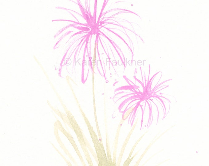 Watercolor Flower Notecards, set of four assorted: Set No. 8