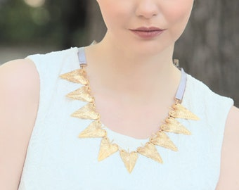 Leaf Statement Necklace. Available in 8 different colors of ribbon: navy, lavender, blue, candy pink & dusty rose. sale, under 20, gift, big