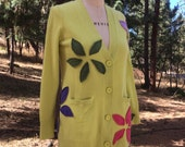 Cashmere Cardigan Size Large Up cycled Cashmere Eco Fashion Appliquéd Cardie