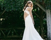 Super Sale -V-neck fitted Wedding gown: Eden silk chiffon and lace