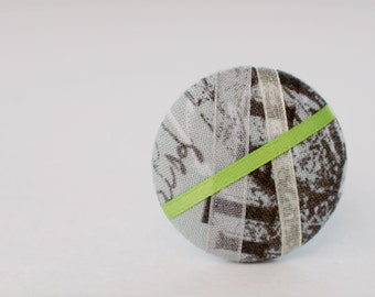 Lime Green Cityscape - Graffiti Print - One Oversized Hair Tie - Button Ponytail Holder - Hair Candy by Gazzu