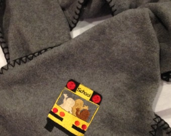 School Bus Driver Scarf Fleece Embroidered Warm and Cozy - Made to Order