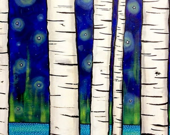 Ravens crows birch trees northern lights night print by Shelagh Duffett