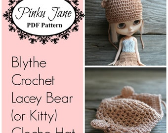 NEW PDF - Blythe Crochet Lacey Bear with Side Ties Pattern