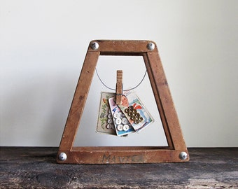 Display Photo Frame Made From a Vintage Wood Tennis Racket Bracket Press
