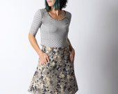 Short grey skirt, Womens grey floral skirt with pockets sz  UK 14