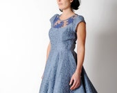 Blue cocktail dress, Blue dress with sheer lace back, Cotton and lace dress, Blue lace dress, Sheer back dress, Lace back dress sz UK 12