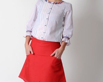 Red A-line skirt, Red womens skirt with pockets, FR38 / UK 10 or Your Size