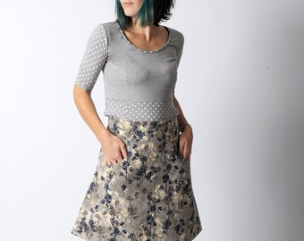 Short grey skirt, Womens grey floral skirt with pockets sz UK 10, UK 14 or custom sized